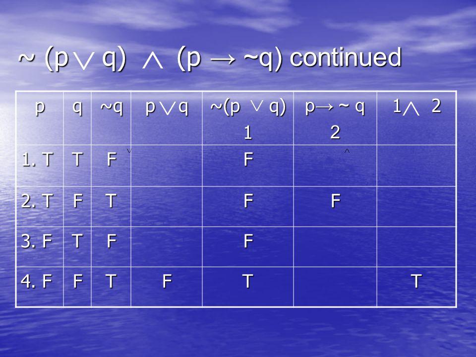 ~ (p q) (p ~q) continued pq~q p q ~(p q) 1 p ~ q 2 1 2 1. T TFF 2. T FTFF 3. F TFF 4. F FTFTT
