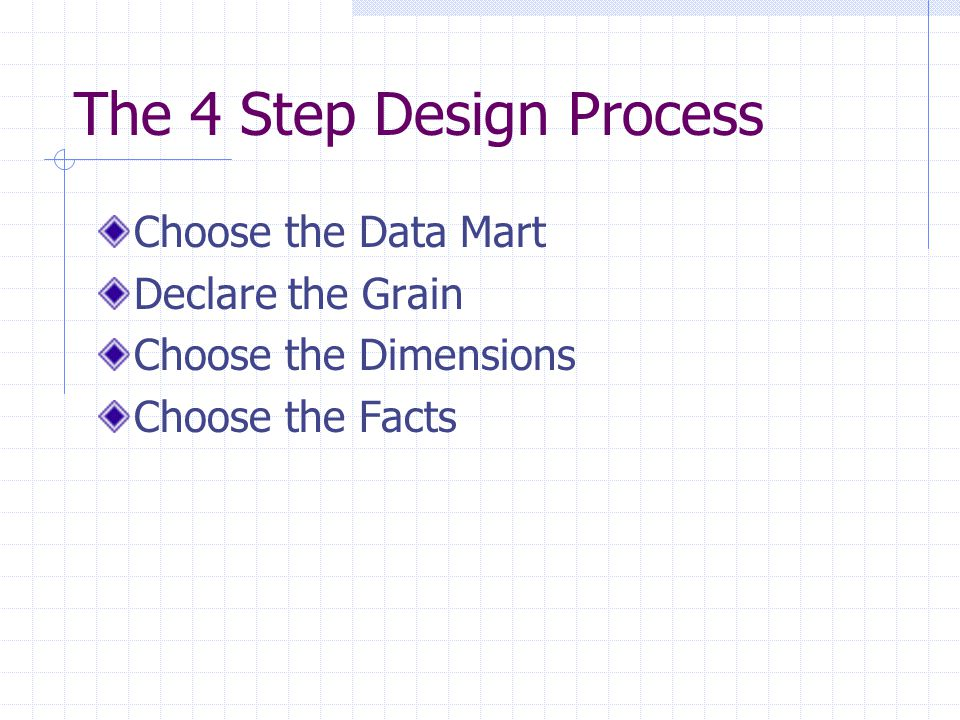 The 4 Step Design Process Choose the Data Mart Declare the Grain Choose the Dimensions Choose the Facts