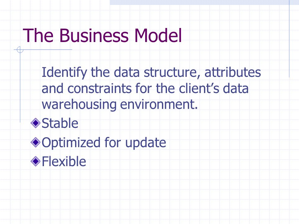 The Business Model Identify the data structure, attributes and constraints for the clients data warehousing environment. Stable Optimized for update F