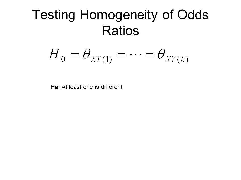 Testing Homogeneity of Odds Ratios Ha: At least one is different