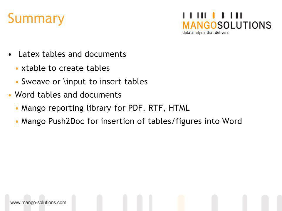 Summary Latex tables and documents xtable to create tables Sweave or \input to insert tables Word tables and documents Mango reporting library for PDF, RTF, HTML Mango Push2Doc for insertion of tables/figures into Word