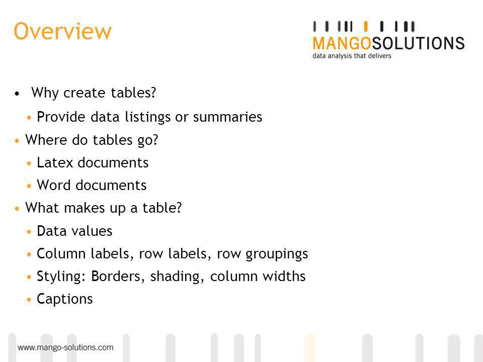 Overview Why create tables. Provide data listings or summaries Where do tables go.