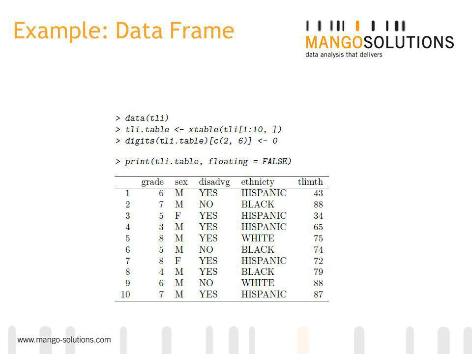 Example: Data Frame