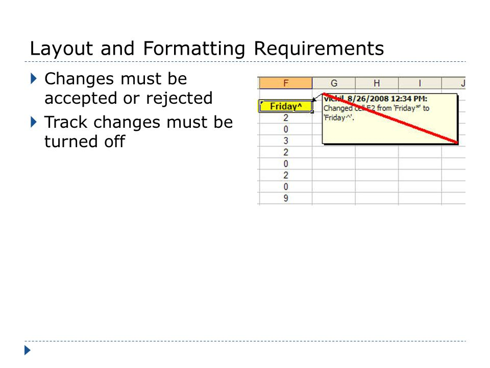 Layout and Formatting Requirements Changes must be accepted or rejected Track changes must be turned off