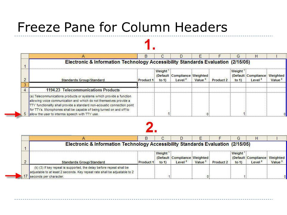 Freeze Pane for Column Headers