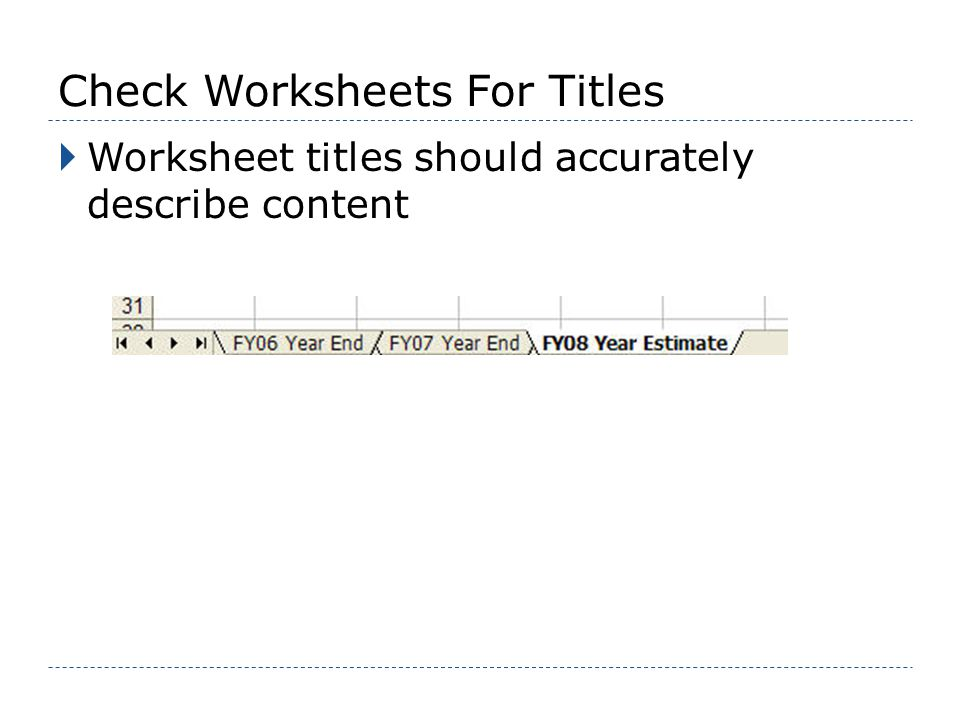 Check Worksheets For Titles Worksheet titles should accurately describe content