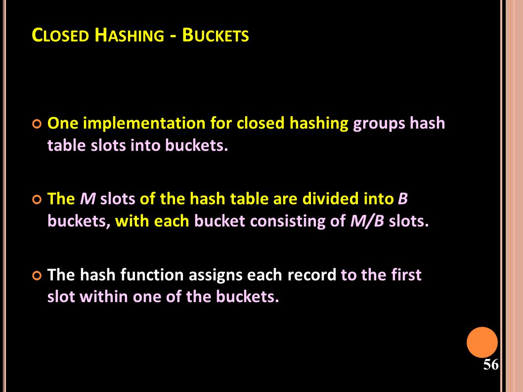 57 B UCKET H ASHING - USES M AIN T ABLE If this slot is already occupied, then the bucket slots are searched sequentially until an open slot is found.
