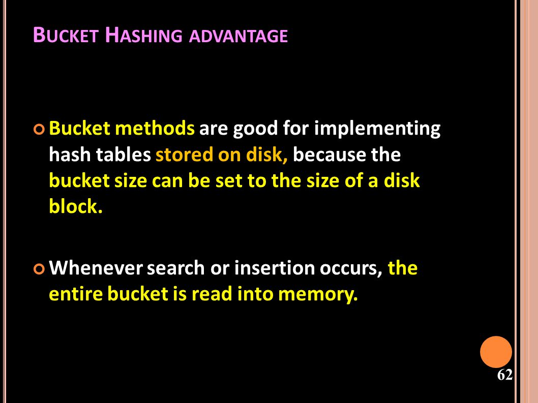 63 USING BUCKETS Because the entire bucket is then in memory, processing an insert or search operation requires only one disk access, unless the bucket is full.