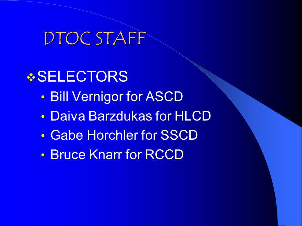 DTOC STAFF SELECTORS Bill Vernigor for ASCD Daiva Barzdukas for HLCD Gabe Horchler for SSCD Bruce Knarr for RCCD