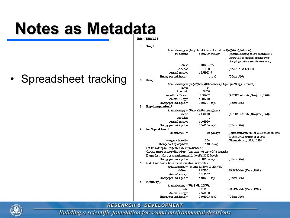 Notes as Metadata Spreadsheet tracking