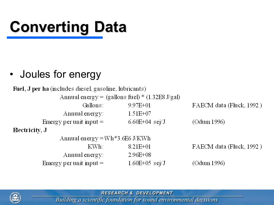 Converting Data Joules for energy