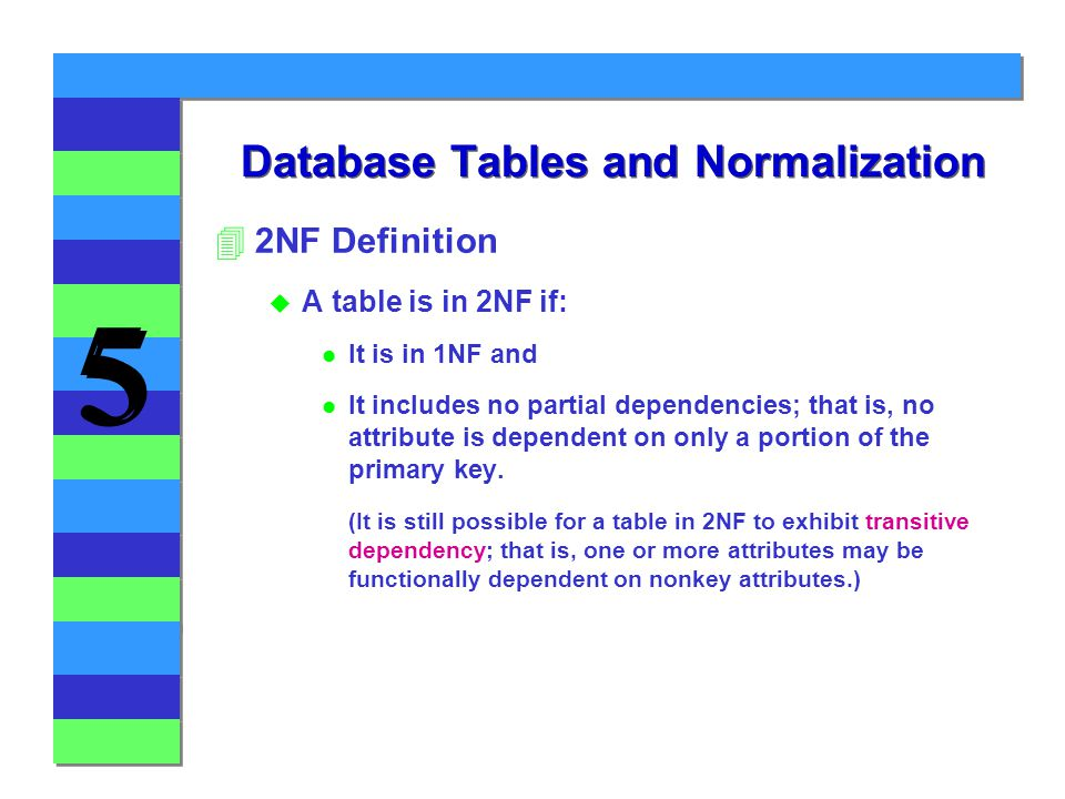 5 5 42NF Definition u A table is in 2NF if: l It is in 1NF and l It includes no partial dependencies; that is, no attribute is dependent on only a portion of the primary key.
