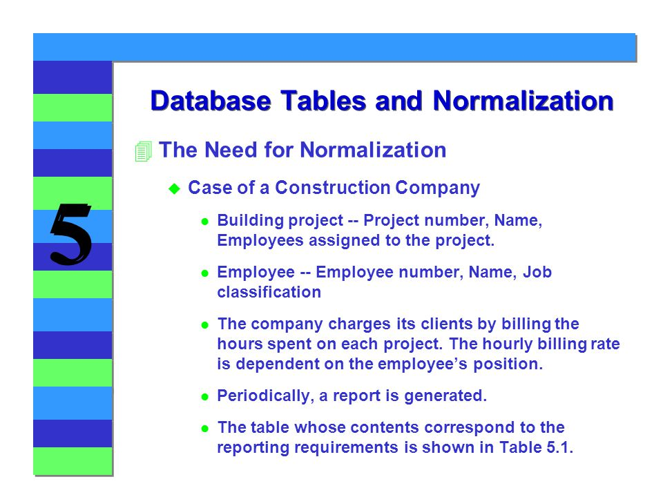 5 5 Database Tables and Normalization 4The Need for Normalization u Case of a Construction Company l Building project -- Project number, Name, Employees assigned to the project.