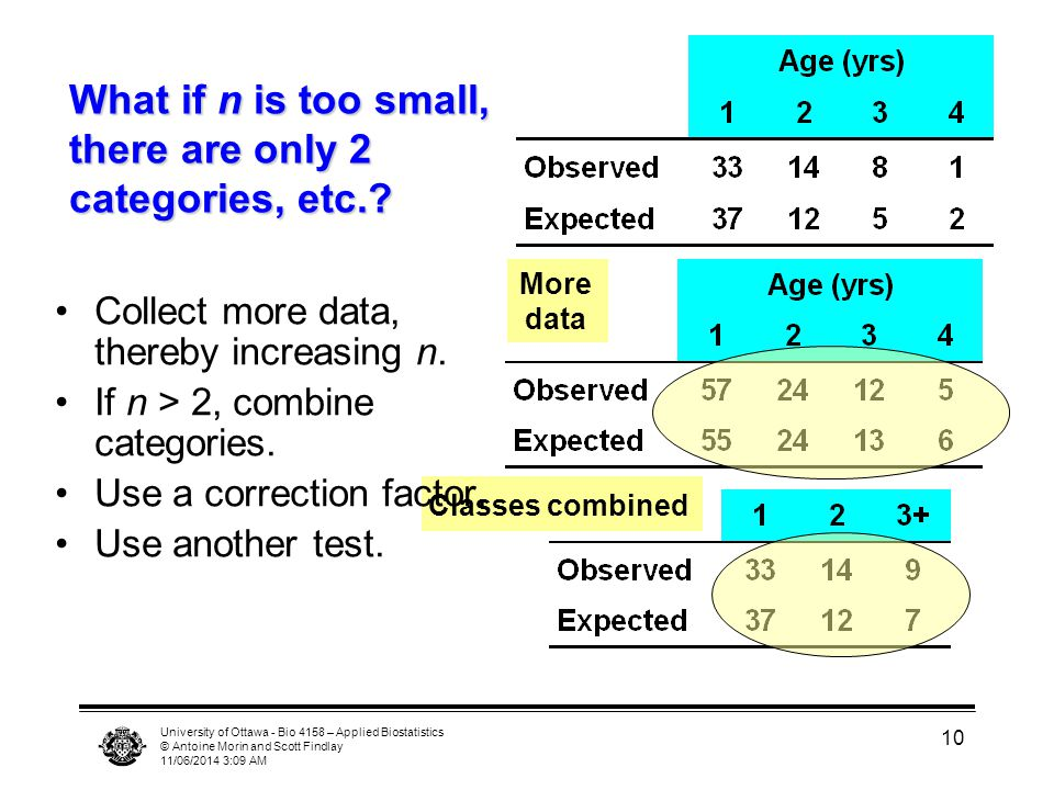 University of Ottawa - Bio 4158 – Applied Biostatistics © Antoine Morin and Scott Findlay 11/06/2014 3:11 AM 10 What if n is too small, there are only