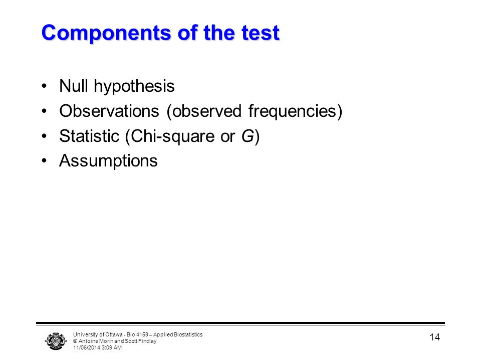 University of Ottawa - Bio 4158 – Applied Biostatistics © Antoine Morin and Scott Findlay 11/06/2014 3:11 AM 14 Components of the test Null hypothesis