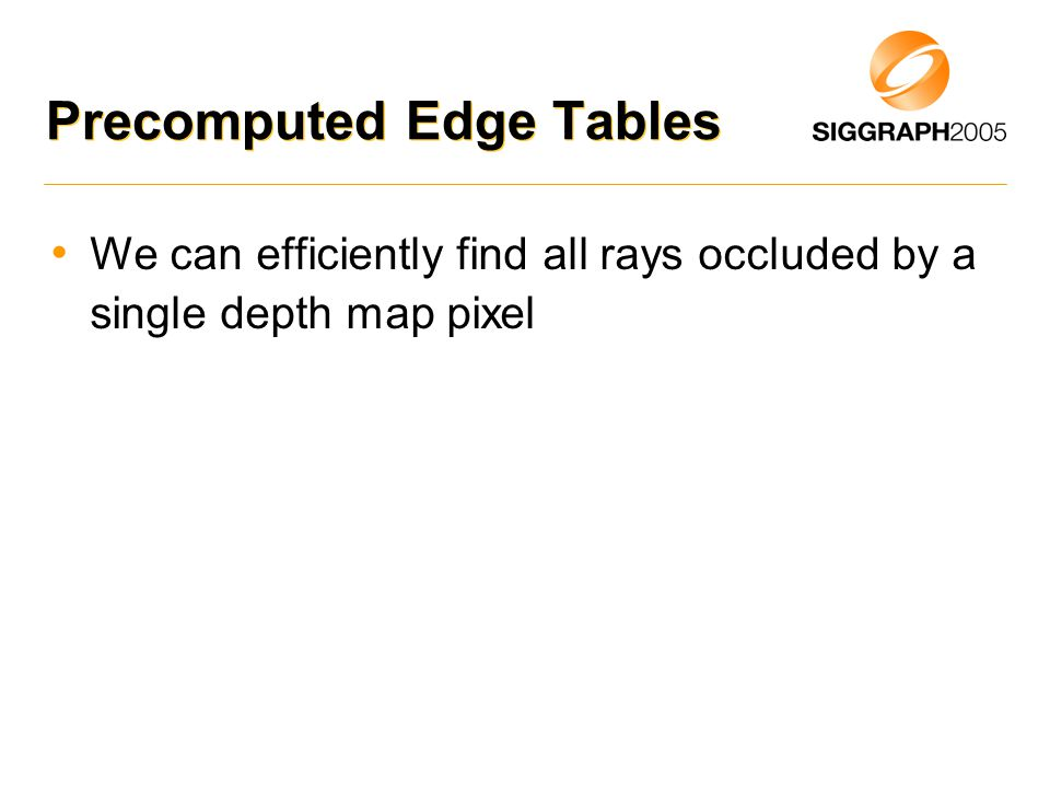 Precomputed Edge Tables We can efficiently find all rays occluded by a single depth map pixel