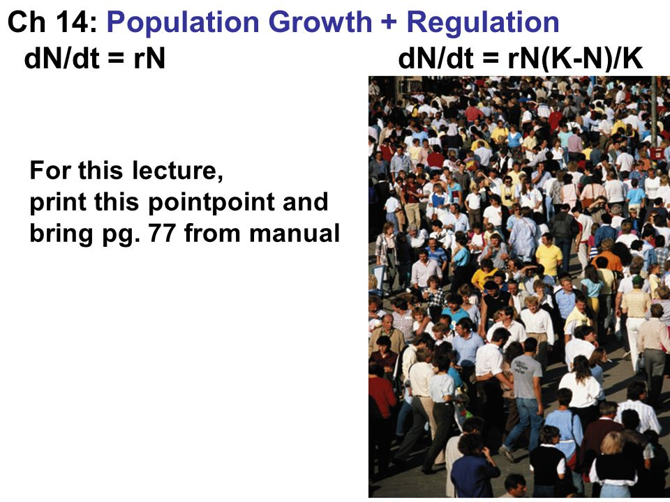Ch 14: Population Growth + Regulation dN/dt = rN dN/dt = rN(K-N)/K For this lecture, print this pointpoint and bring pg. 77 from manual