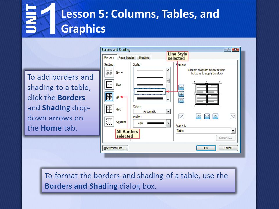 To format the borders and shading of a table, use the Borders and Shading dialog box. Lesson 5: Columns, Tables, and Graphics To add borders and shadi