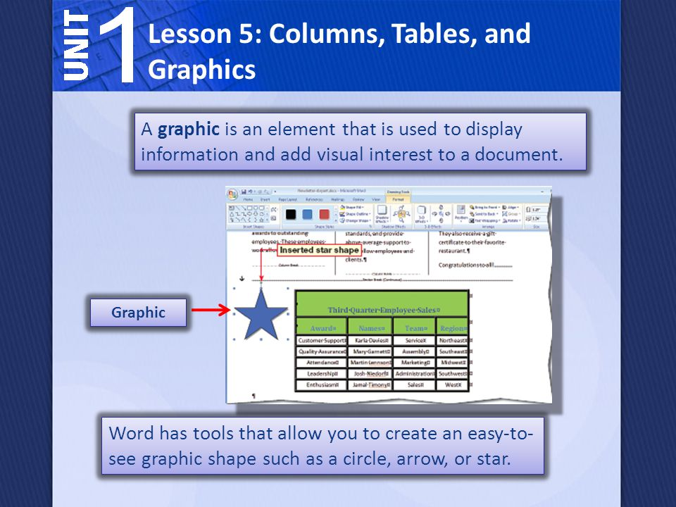 A graphic is an element that is used to display information and add visual interest to a document.