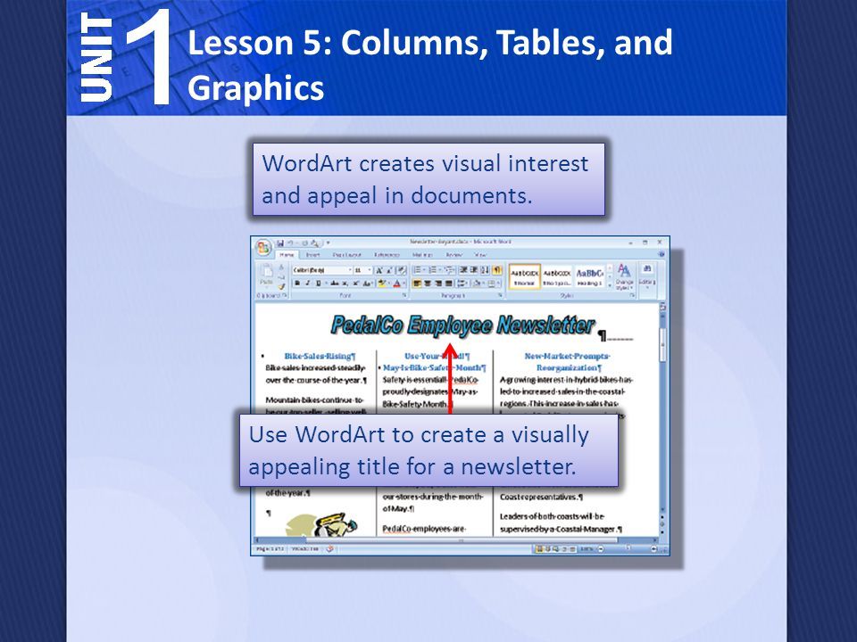 WordArt creates visual interest and appeal in documents. Lesson 5: Columns, Tables, and Graphics Use WordArt to create a visually appealing title for