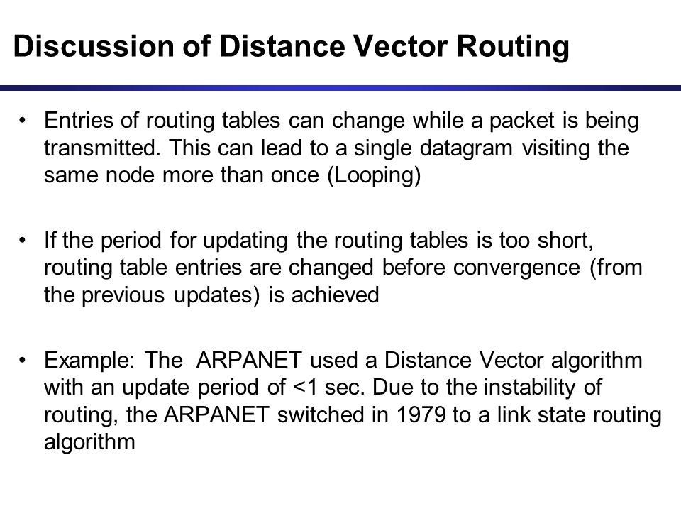 Discussion of Distance Vector Routing Entries of routing tables can change while a packet is being transmitted. This can lead to a single datagram vis