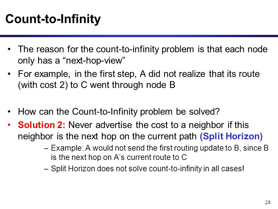 28 Count-to-Infinity The reason for the count-to-infinity problem is that each node only has a next-hop-view For example, in the first step, A did not