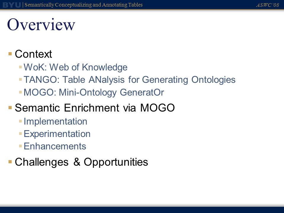 ASWC08 Semantically Conceptualizing and Annotating Tables Overview Context WoK: Web of Knowledge TANGO: Table ANalysis for Generating Ontologies MOGO:
