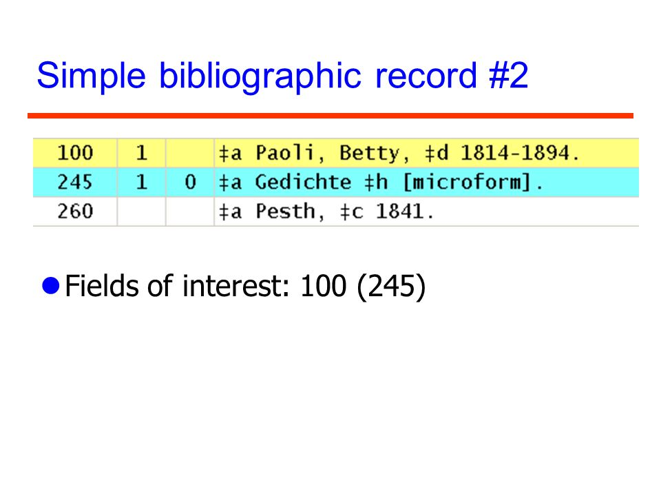 Simple bibliographic record #2 lFields of interest: 100 (245)