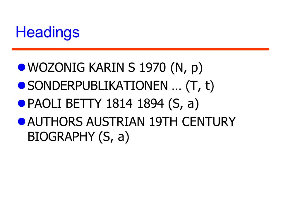 Headings lWOZONIG KARIN S 1970 (N, p) lSONDERPUBLIKATIONEN … (T, t) lPAOLI BETTY 1814 1894 (S, a) lAUTHORS AUSTRIAN 19TH CENTURY BIOGRAPHY (S, a)