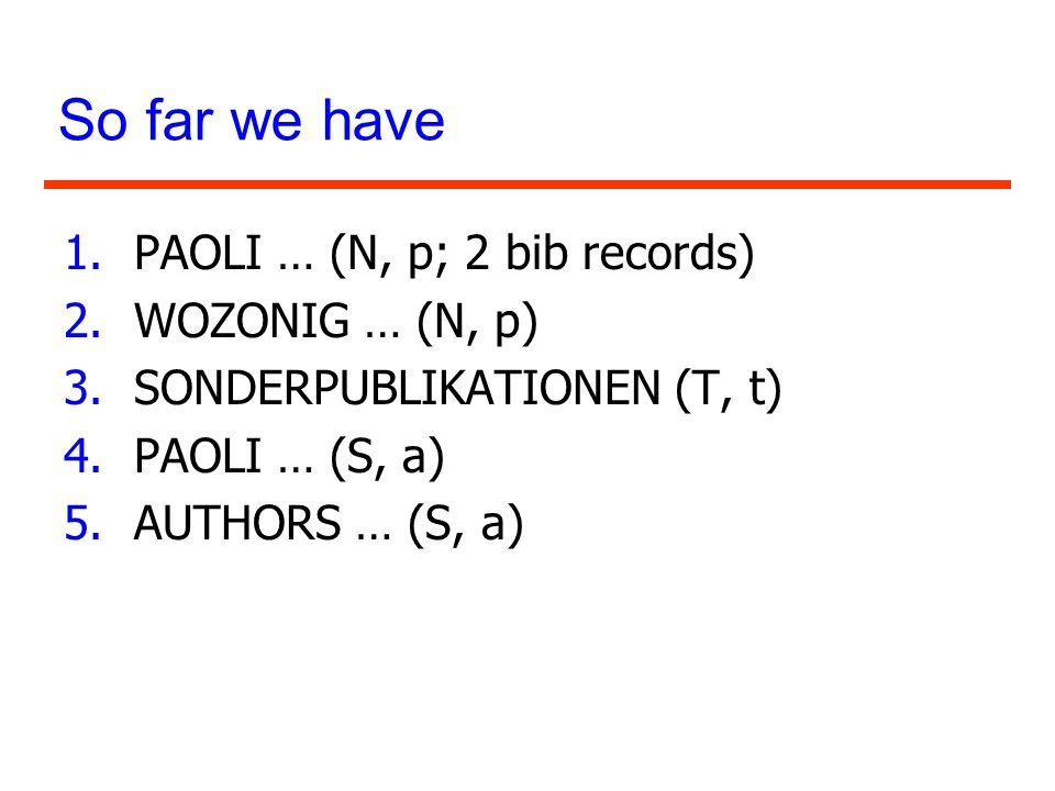 So far we have 1.PAOLI … (N, p; 2 bib records) 2.WOZONIG … (N, p) 3.SONDERPUBLIKATIONEN (T, t) 4.PAOLI … (S, a) 5.AUTHORS … (S, a)