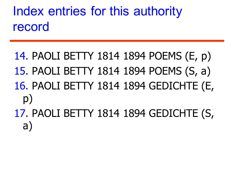 Index entries for this authority record 14. PAOLI BETTY 1814 1894 POEMS (E, p) 15. PAOLI BETTY 1814 1894 POEMS (S, a) 16. PAOLI BETTY 1814 1894 GEDICH