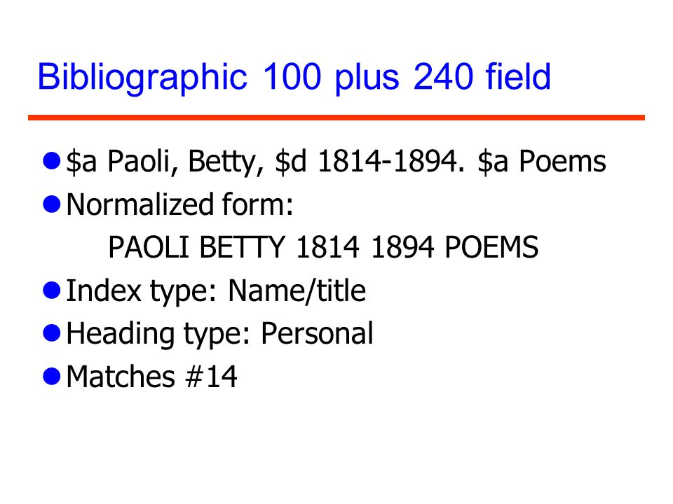 Bibliographic 100 plus 240 field l$a Paoli, Betty, $d 1814-1894. $a Poems lNormalized form: PAOLI BETTY 1814 1894 POEMS lIndex type: Name/title lHeadi
