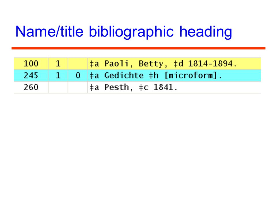Name/title bibliographic heading