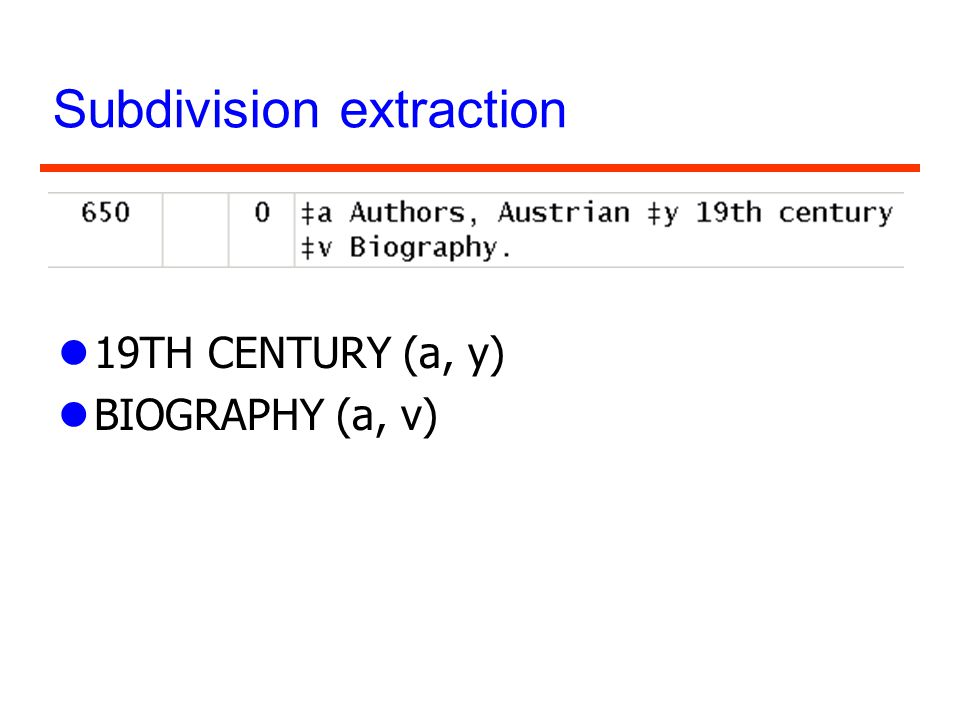 Subdivision extraction l19TH CENTURY (a, y) lBIOGRAPHY (a, v)