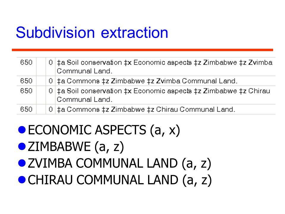 Subdivision extraction lECONOMIC ASPECTS (a, x) lZIMBABWE (a, z) lZVIMBA COMMUNAL LAND (a, z) lCHIRAU COMMUNAL LAND (a, z)