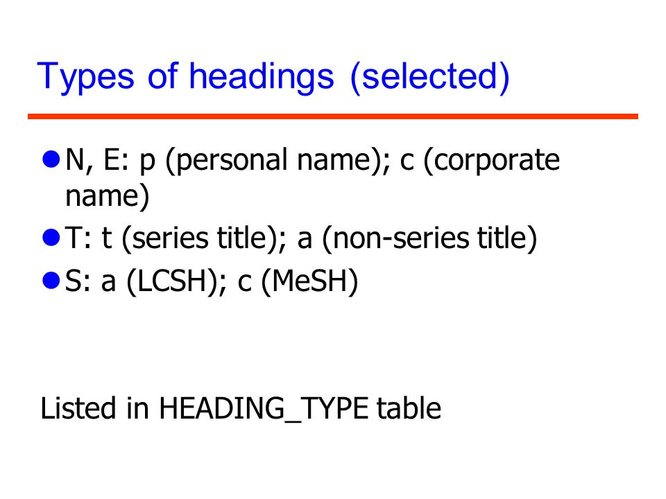 Types of headings (selected) lN, E: p (personal name); c (corporate name) lT: t (series title); a (non-series title) lS: a (LCSH); c (MeSH) Listed in