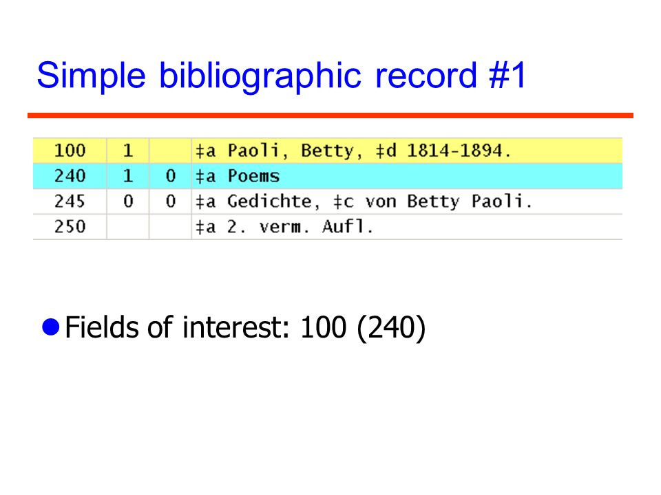 Simple bibliographic record #1 lFields of interest: 100 (240)