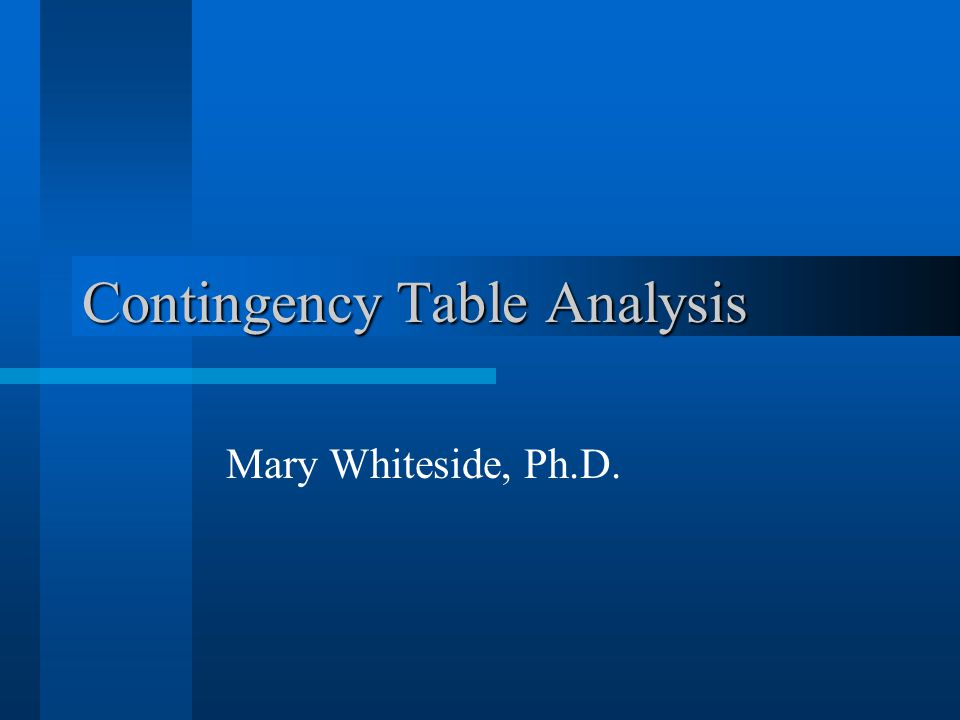 Contingency Table Analysis Mary Whiteside, Ph.D.