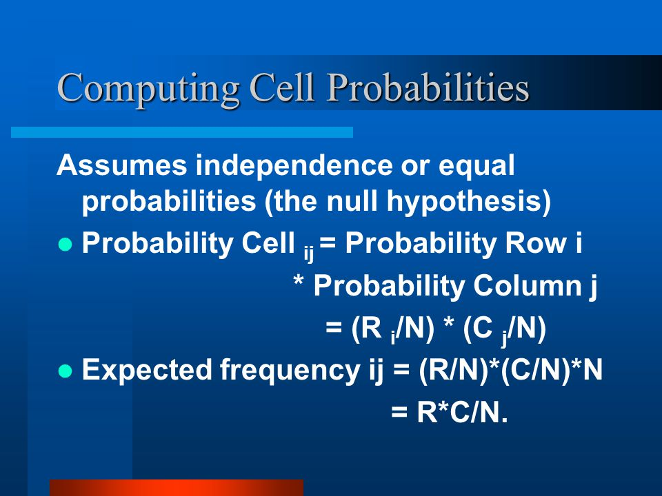 Computing Cell Probabilities Assumes independence or equal probabilities (the null hypothesis) Probability Cell ij = Probability Row i * Probability Column j = (R i /N) * (C j /N) Expected frequency ij = (R/N)*(C/N)*N = R*C/N.
