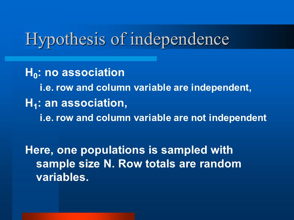 Hypothesis of independence H 0 : no association i.e.