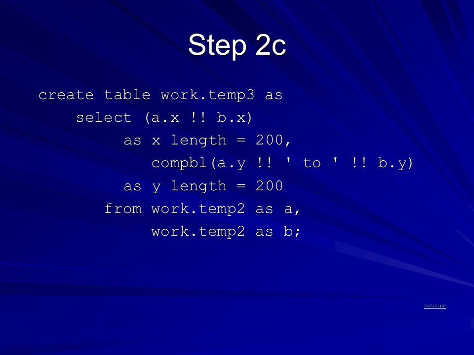 Step 2c create table work.temp3 as create table work.temp3 as select (a.x !.