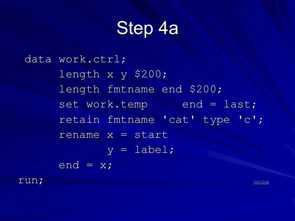 Step 4a data work.ctrl; data work.ctrl; length x y $200; length x y $200; length fmtname end $200; length fmtname end $200; set work.temp end = last; set work.temp end = last; retain fmtname cat type c ; retain fmtname cat type c ; rename x = start rename x = start y = label; y = label; end = x; end = x; run; outline outline