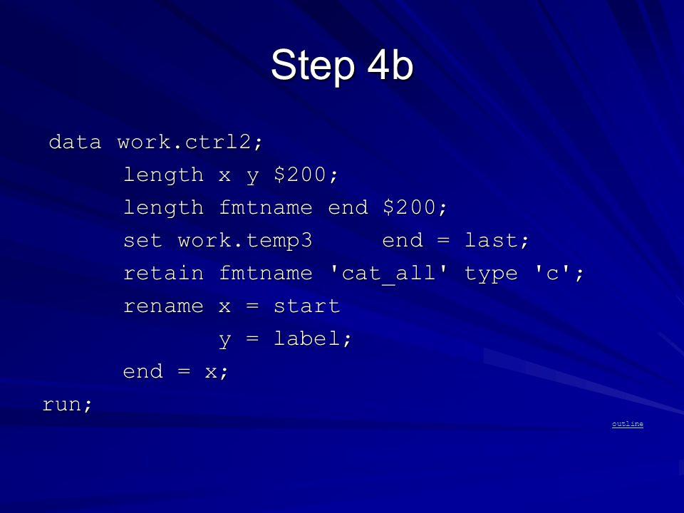 Step 4b data work.ctrl2; data work.ctrl2; length x y $200; length x y $200; length fmtname end $200; length fmtname end $200; set work.temp3 end = last; set work.temp3 end = last; retain fmtname cat_all type c ; retain fmtname cat_all type c ; rename x = start rename x = start y = label; y = label; end = x; end = x;run; outline
