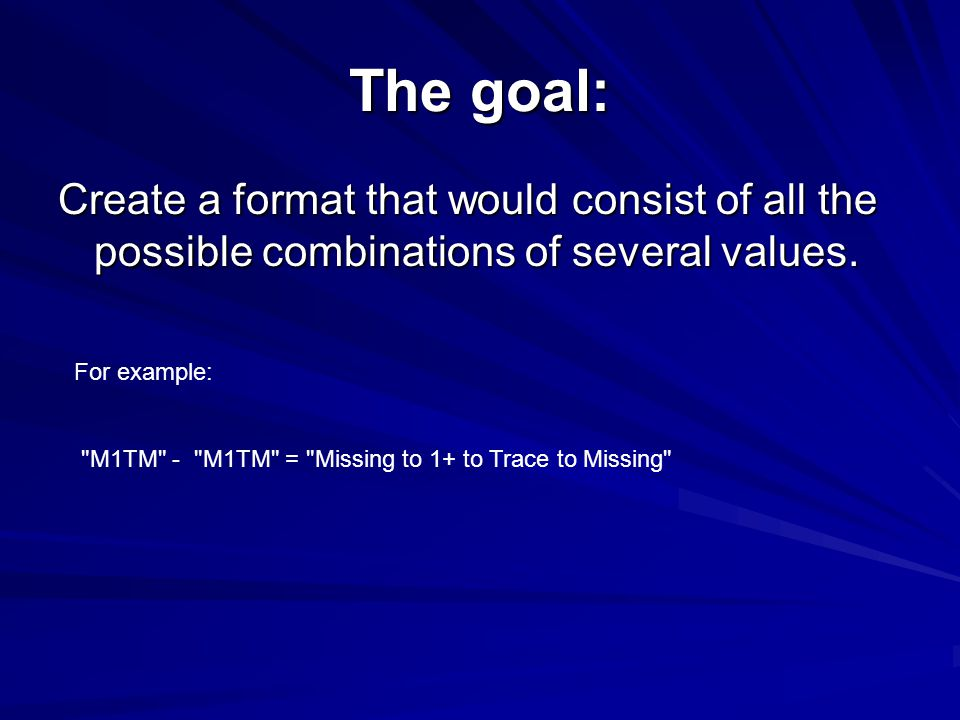 The goal: Create a format that would consist of all the possible combinations of several values.