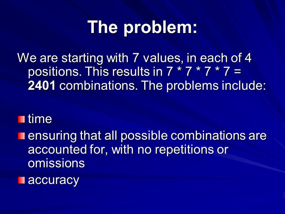The problem: We are starting with 7 values, in each of 4 positions.