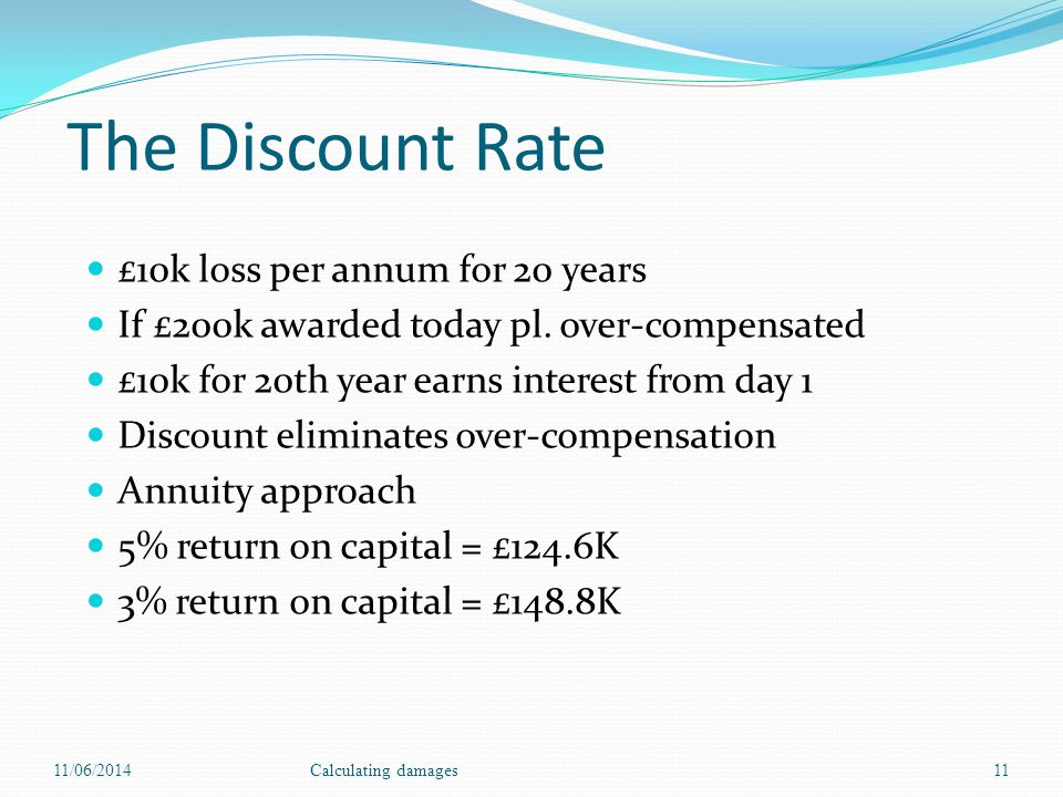 The Discount Rate £10k loss per annum for 20 years If £200k awarded today pl.