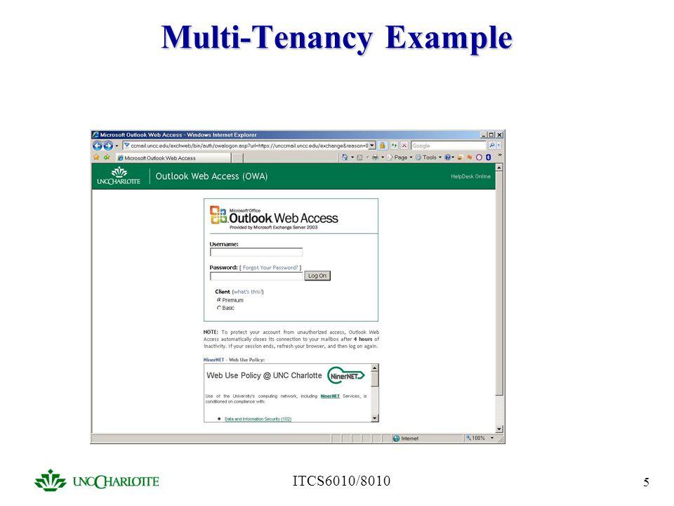 ITCS6010/8010 5 Multi-Tenancy Example