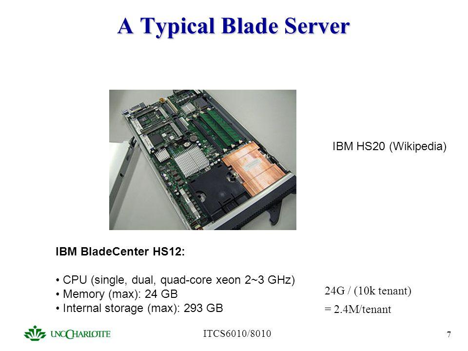 ITCS6010/8010 7 A Typical Blade Server IBM HS20 (Wikipedia) IBM BladeCenter HS12: CPU (single, dual, quad-core xeon 2~3 GHz) Memory (max): 24 GB Inter