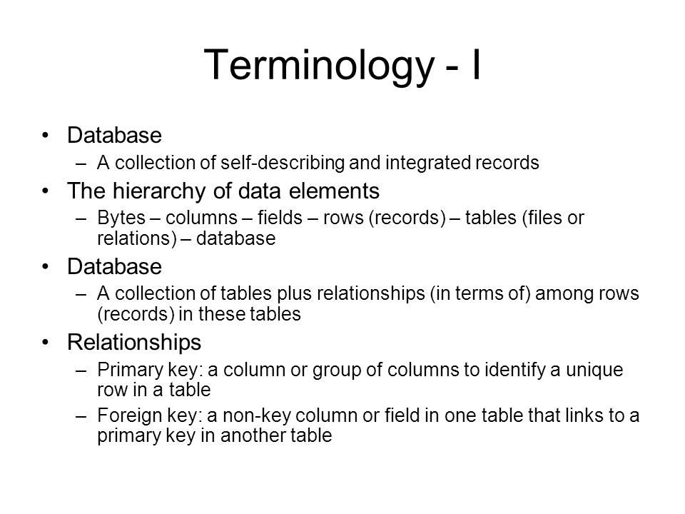 Database Design Create data model –Logical representation of database based on users view on the business environment (users requirements) –Data and relationships that users want to track Create database design –The process of converting a data model into tables, relationships, and data constraints –Normalization: the process of converting poorly structured tables into two or more well-structured tables to avoid data integrity problems Users reveiw Create database