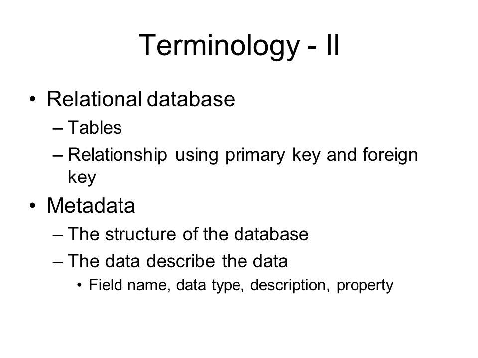 Metadata Example (in Access)